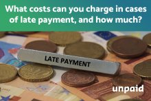 What costs can you charge in cases of late payment, and how much?
